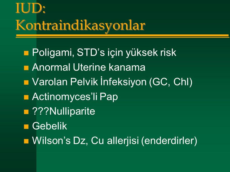 IUD: Kontraindikasyonlar  Poligami, STD's için yüksek risk  Anormal Uterine kanama  Varolan Pelvik İnfeksiyon (GC, Chl)  Actinomyces'li Pap  ???N