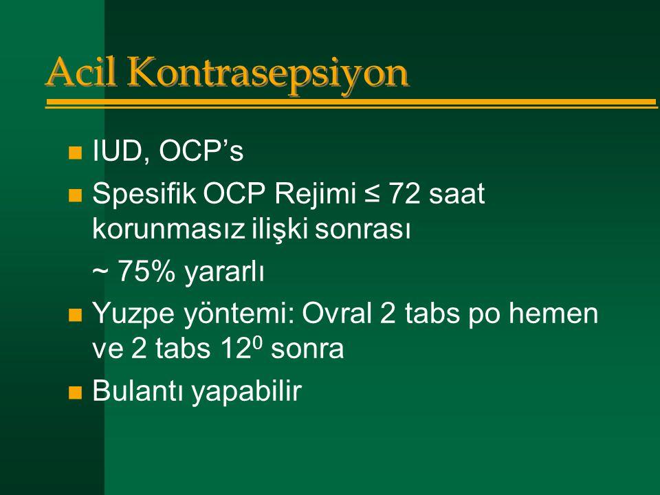Acil Kontrasepsiyon  IUD, OCP's  Spesifik OCP Rejimi ≤ 72 saat korunmasız ilişki sonrası ~ 75% yararlı  Yuzpe yöntemi: Ovral 2 tabs po hemen ve 2 t