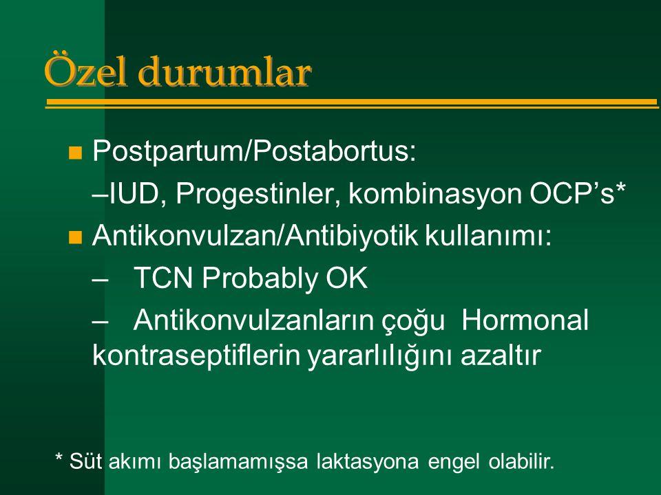 Özel durumlar  Postpartum/Postabortus: –IUD, Progestinler, kombinasyon OCP's*  Antikonvulzan/Antibiyotik kullanımı: –TCN Probably OK –Antikonvulzanl