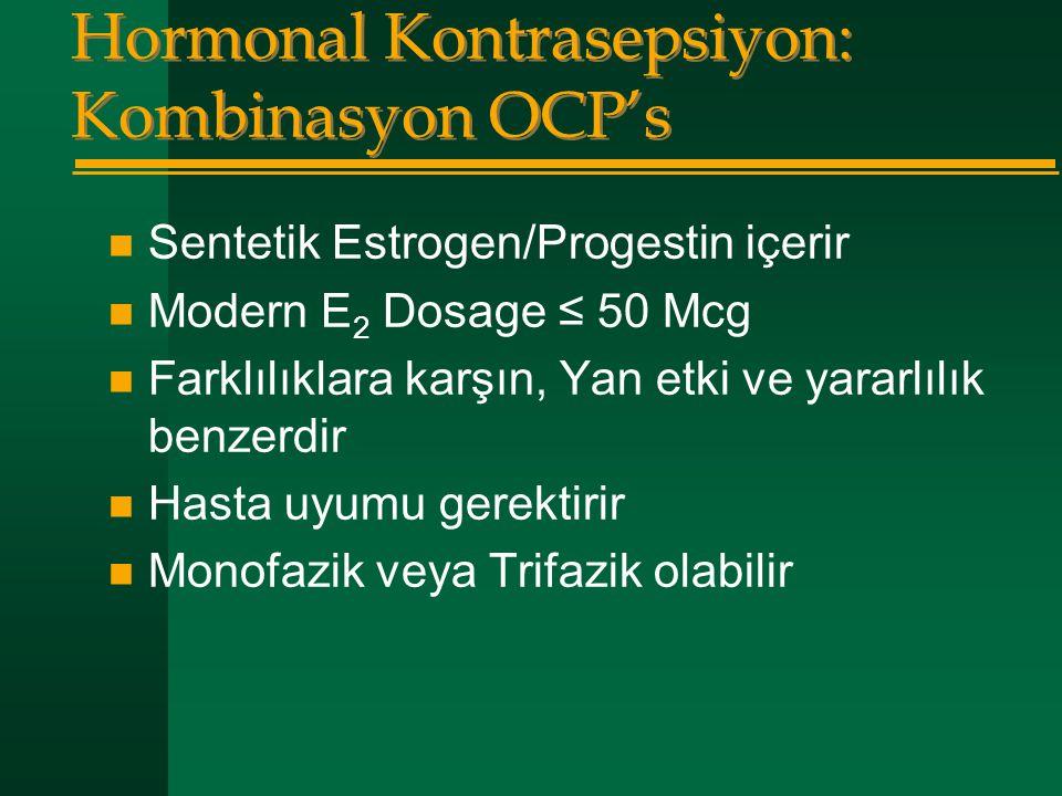 Hormonal Kontrasepsiyon: Kombinasyon OCP's  Sentetik Estrogen/Progestin içerir  Modern E 2 Dosage ≤ 50 Mcg  Farklılıklara karşın, Yan etki ve yarar