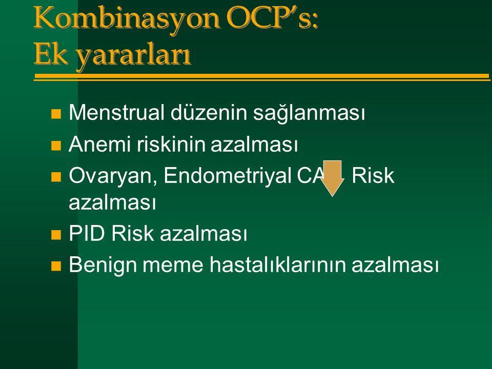 Kombinasyon OCP's: Ek yararları  Menstrual düzenin sağlanması  Anemi riskinin azalması  Ovaryan, Endometriyal CA: Risk azalması  PID Risk azalması