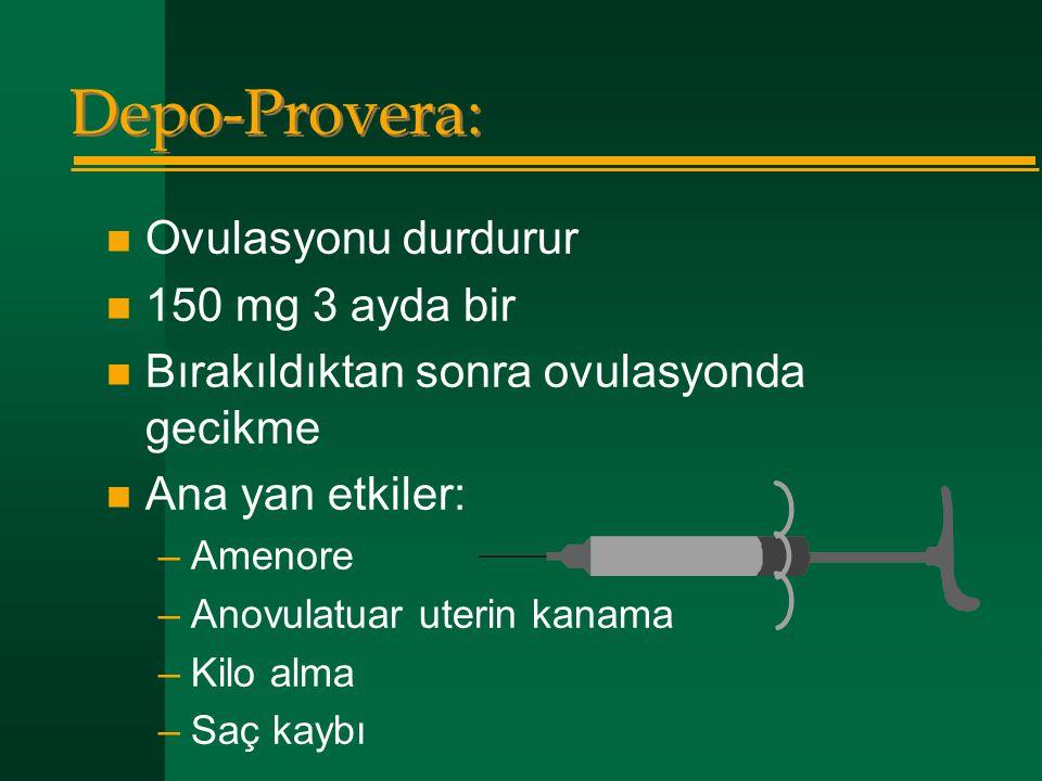 Depo-Provera:  Ovulasyonu durdurur  150 mg 3 ayda bir  Bırakıldıktan sonra ovulasyonda gecikme  Ana yan etkiler: –Amenore –Anovulatuar uterin kana
