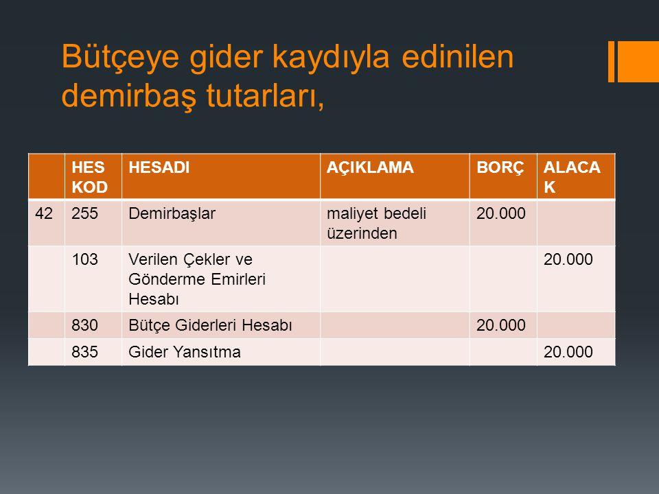 Bütçeye gider kaydıyla edinilen demirbaş tutarları, HES KOD HESADIAÇIKLAMABORÇALACA K 42255Demirbaşlarmaliyet bedeli üzerinden 20.000 103Verilen Çekle