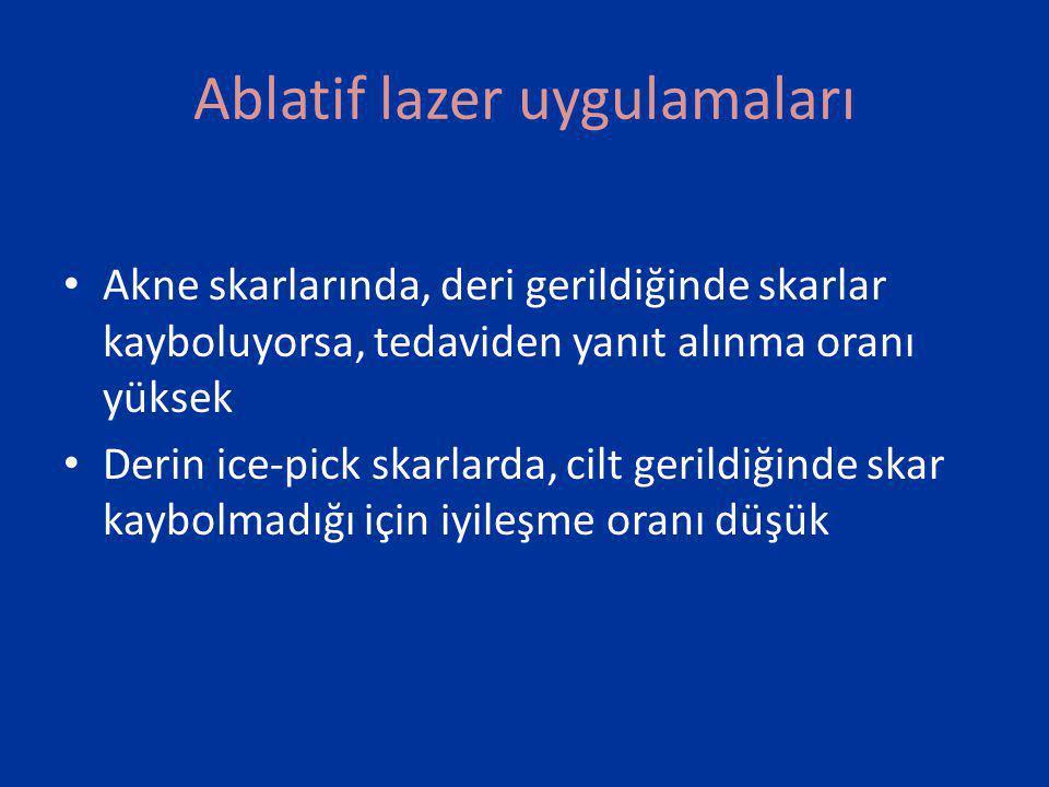 Ablatif lazer uygulamaları: Mikrolazerpeels • Er:YAG lazer ile çok yüzeysel ablasyon yapılmaktadır • Her seansta, 10-30 µm epidermis ablade edilir.