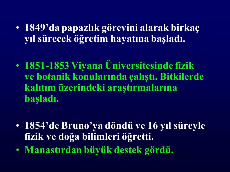 •1865 Bitki melezleri ile ilgili makalesi Brno Doğa Bilimleri Cemiyeti'nin dergisinde yayımlandı.