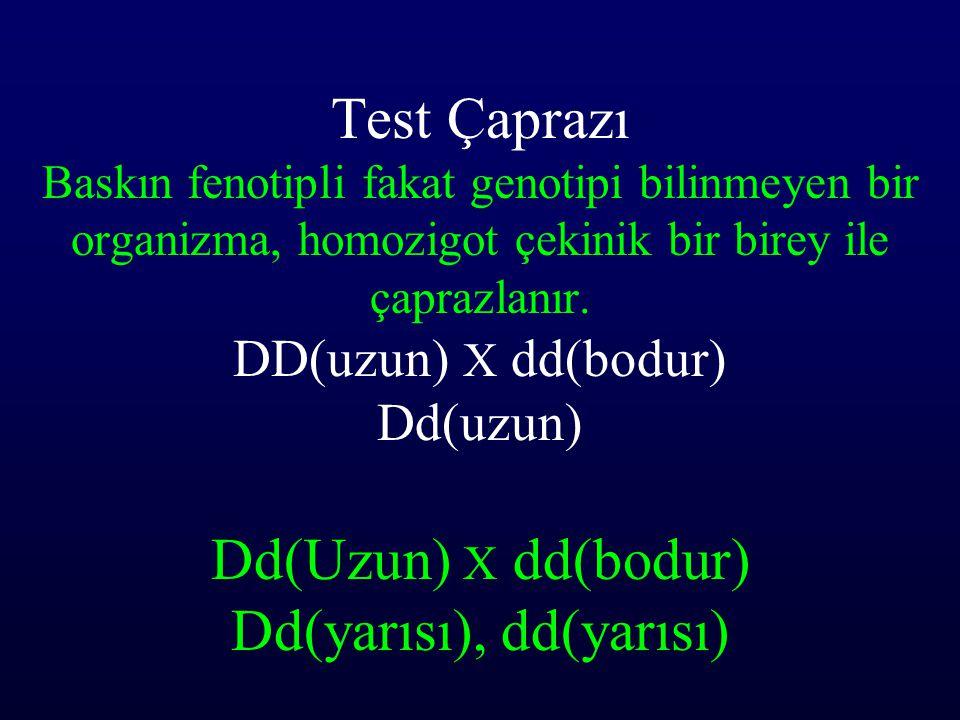 Test Çaprazı Baskın fenotipli fakat genotipi bilinmeyen bir organizma, homozigot çekinik bir birey ile çaprazlanır. DD(uzun) X dd(bodur) Dd(uzun) Dd(U