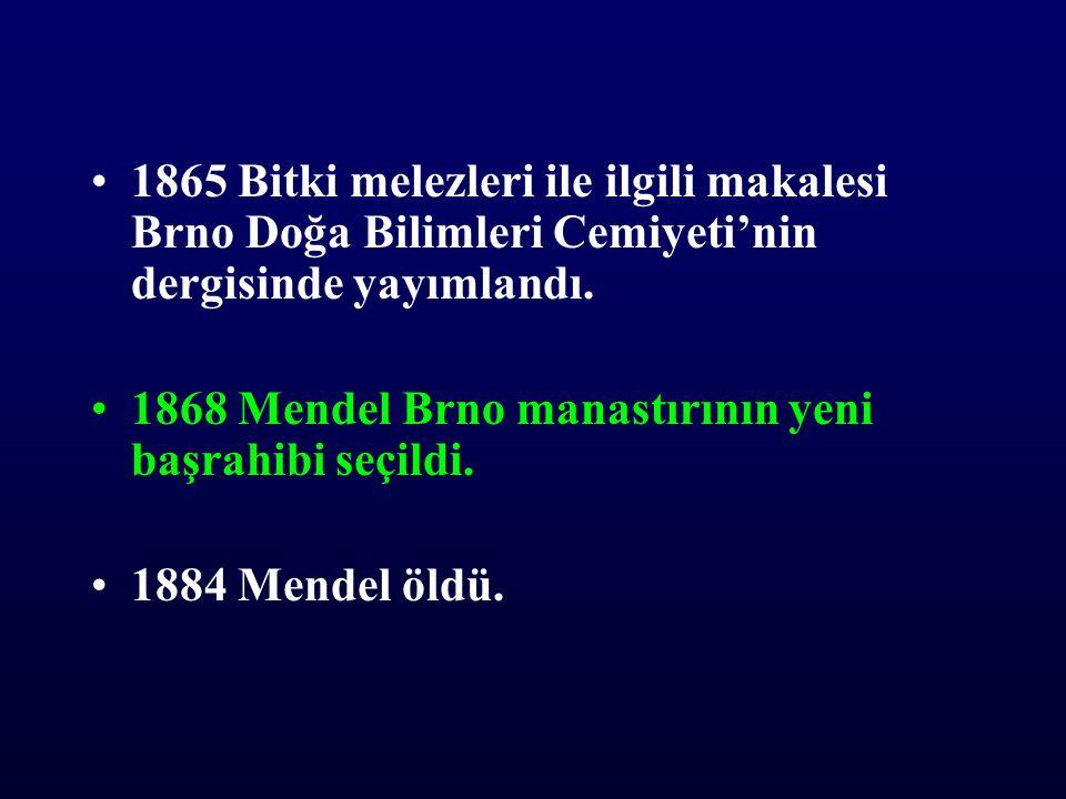 •1865 Bitki melezleri ile ilgili makalesi Brno Doğa Bilimleri Cemiyeti'nin dergisinde yayımlandı. •1868 Mendel Brno manastırının yeni başrahibi seçild