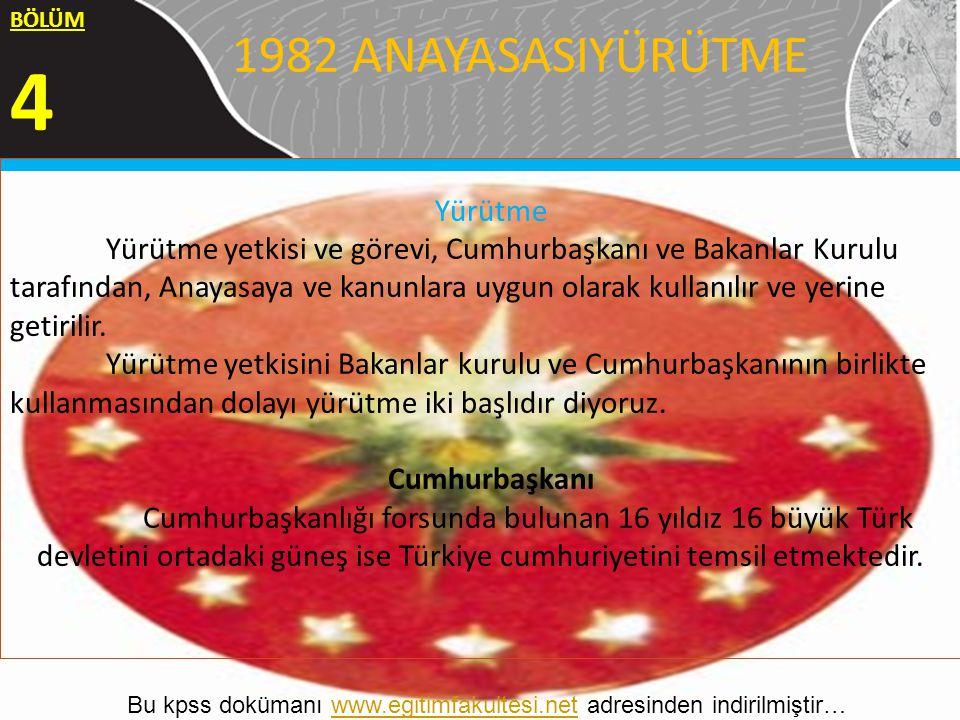 Uğur YILMAZER 1 1982 ANAYASASIYÜRÜTME BÖLÜM 4 Yürütme Yürütme yetkisi ve görevi, Cumhurbaşkanı ve Bakanlar Kurulu tarafından, Anayasaya ve kanunlara u