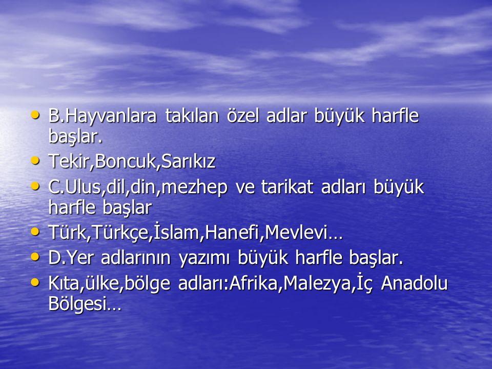 • B.Hayvanlara takılan özel adlar büyük harfle başlar. • Tekir,Boncuk,Sarıkız • C.Ulus,dil,din,mezhep ve tarikat adları büyük harfle başlar • Türk,Tür
