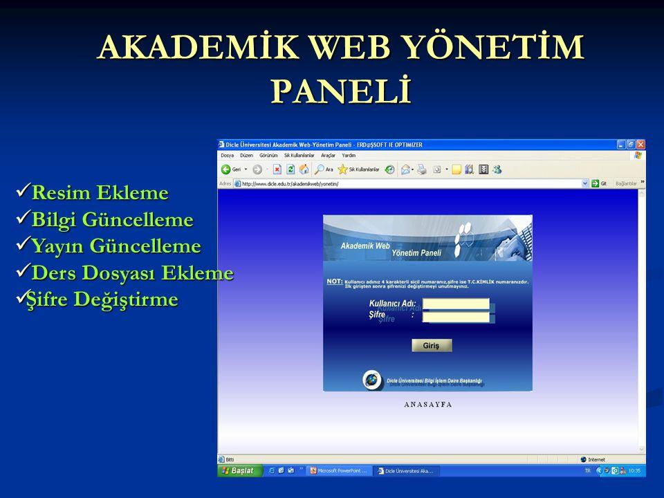 AKADEMİK WEB YÖNETİM PANELİ  Resim Ekleme  Bilgi Güncelleme  Yayın Güncelleme  Ders Dosyası Ekleme  Şifre Değiştirme