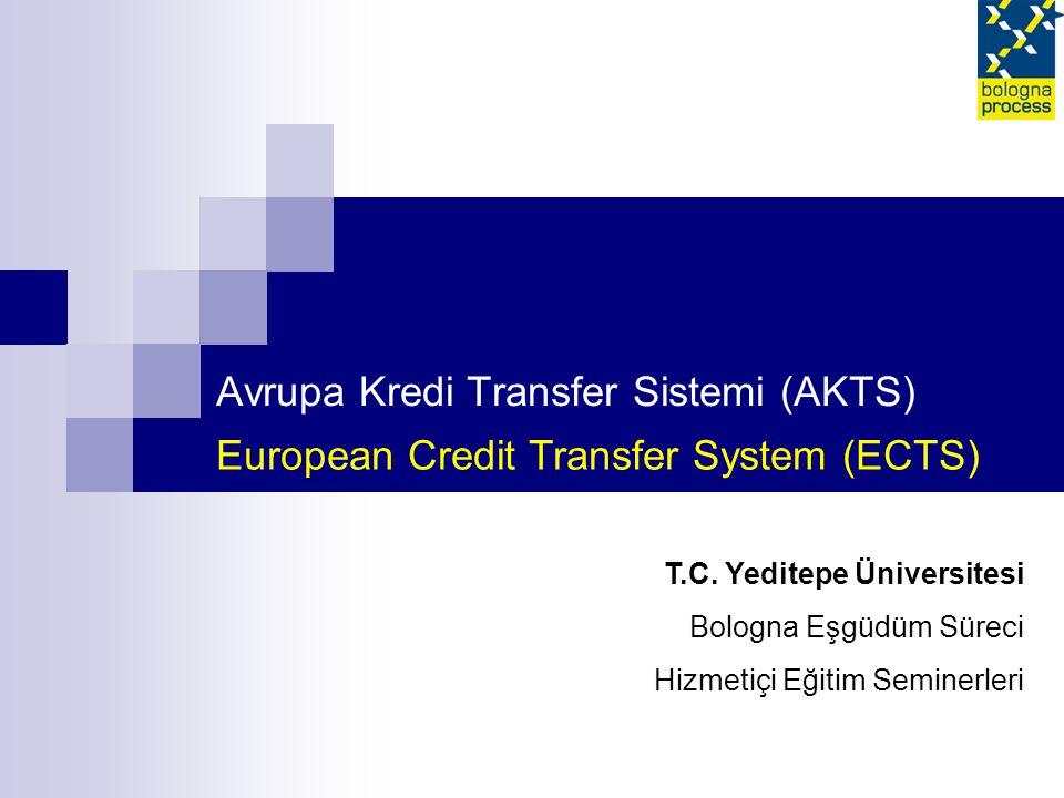 Avrupa Kredi Transfer Sistemi (AKTS) European Credit Transfer System (ECTS) T.C.