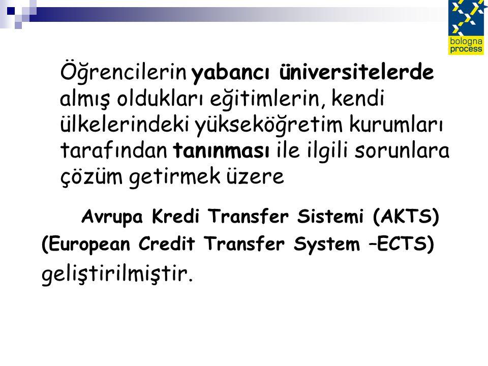 Öğrencilerin yabancı üniversitelerde almış oldukları eğitimlerin, kendi ülkelerindeki yükseköğretim kurumları tarafından tanınması ile ilgili sorunlara çözüm getirmek üzere Avrupa Kredi Transfer Sistemi (AKTS) (European Credit Transfer System –ECTS) geliştirilmiştir.