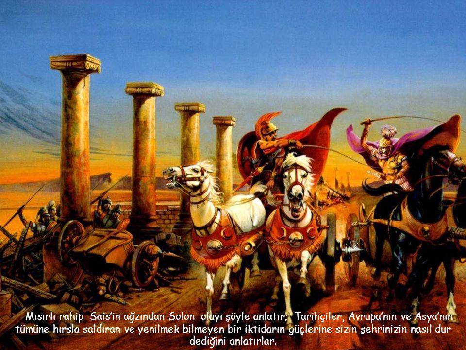 """Felaketten önce Afrika ve Avrupa'nın batı kıyılarını istila eden Atlantisliler güçlü ve istilacı bir ulustu; krallarının """" Deniz Kurdu"""", """"Moc"""" unvanın"""