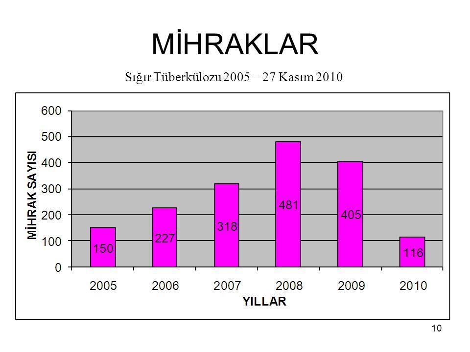 MİHRAKLAR 10 Sığır Tüberkülozu 2005 – 27 Kasım 2010