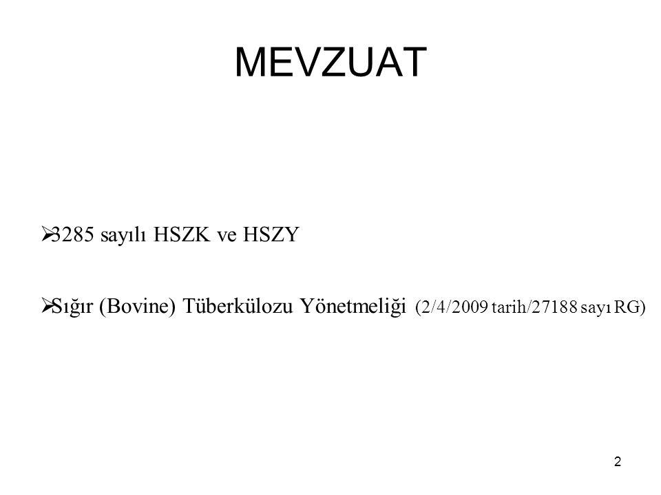 2 MEVZUAT  3285 sayılı HSZK ve HSZY  Sığır (Bovine) Tüberkülozu Yönetmeliği (2/4/2009 tarih/27188 sayı RG)