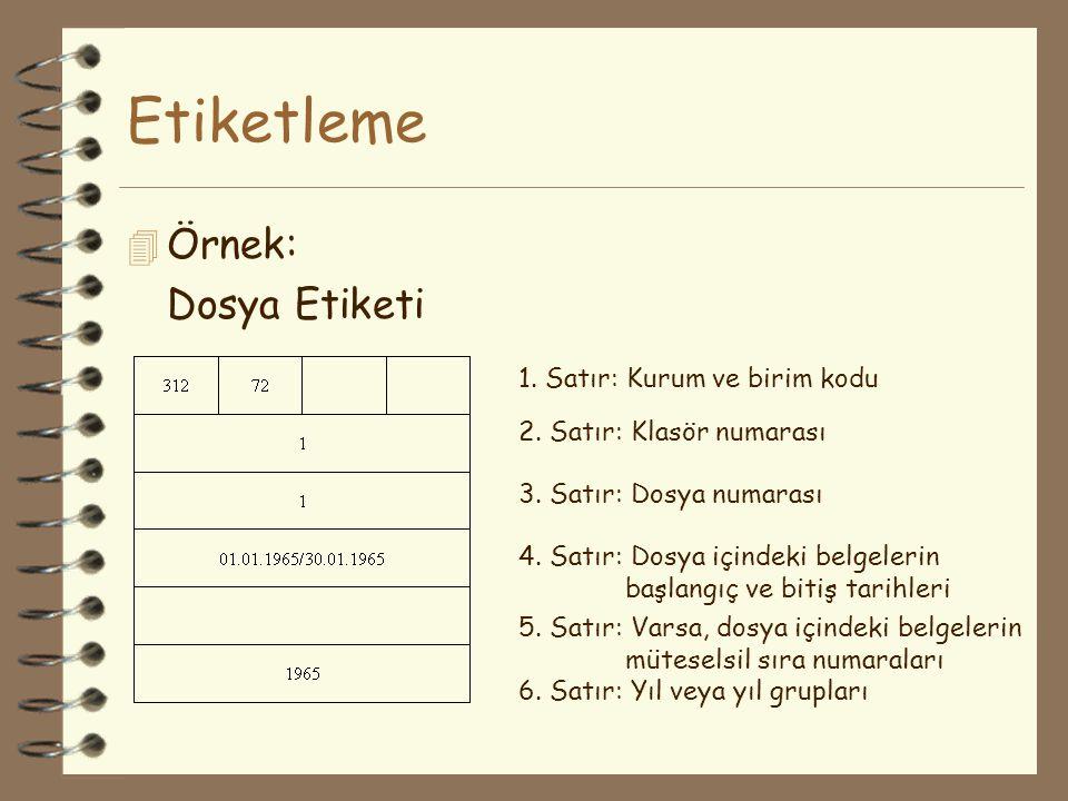 Etiketleme 4 Örnek: Dosya Etiketi 1. Satır: Kurum ve birim kodu 2. Satır: Klasör numarası 3. Satır: Dosya numarası 4. Satır: Dosya içindeki belgelerin