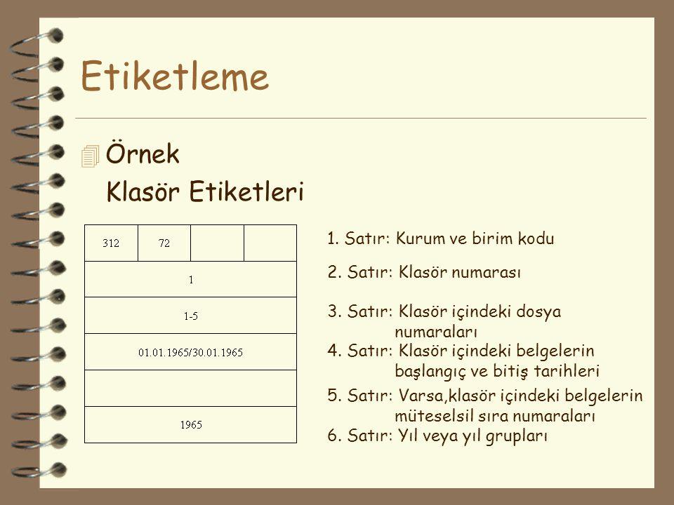Etiketleme 4 Örnek Klasör Etiketleri 1. Satır: Kurum ve birim kodu 2. Satır: Klasör numarası 3. Satır: Klasör içindeki dosya numaraları 4. Satır: Klas