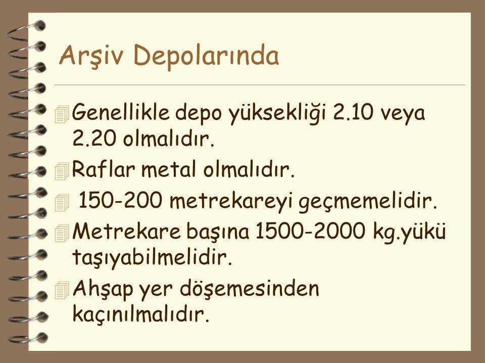 Arşiv Depolarında 4 Genellikle depo yüksekliği 2.10 veya 2.20 olmalıdır. 4 Raflar metal olmalıdır. 4 150-200 metrekareyi geçmemelidir. 4 Metrekare baş