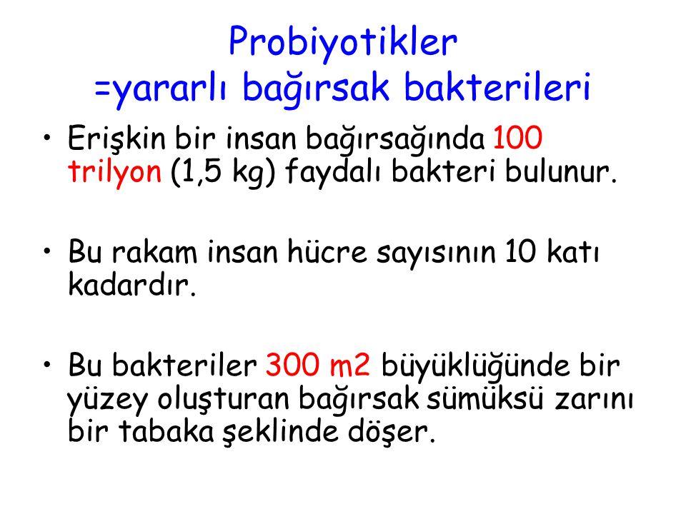 Probiyotikler =yararlı bağırsak bakterileri •Erişkin bir insan bağırsağında 100 trilyon (1,5 kg) faydalı bakteri bulunur.