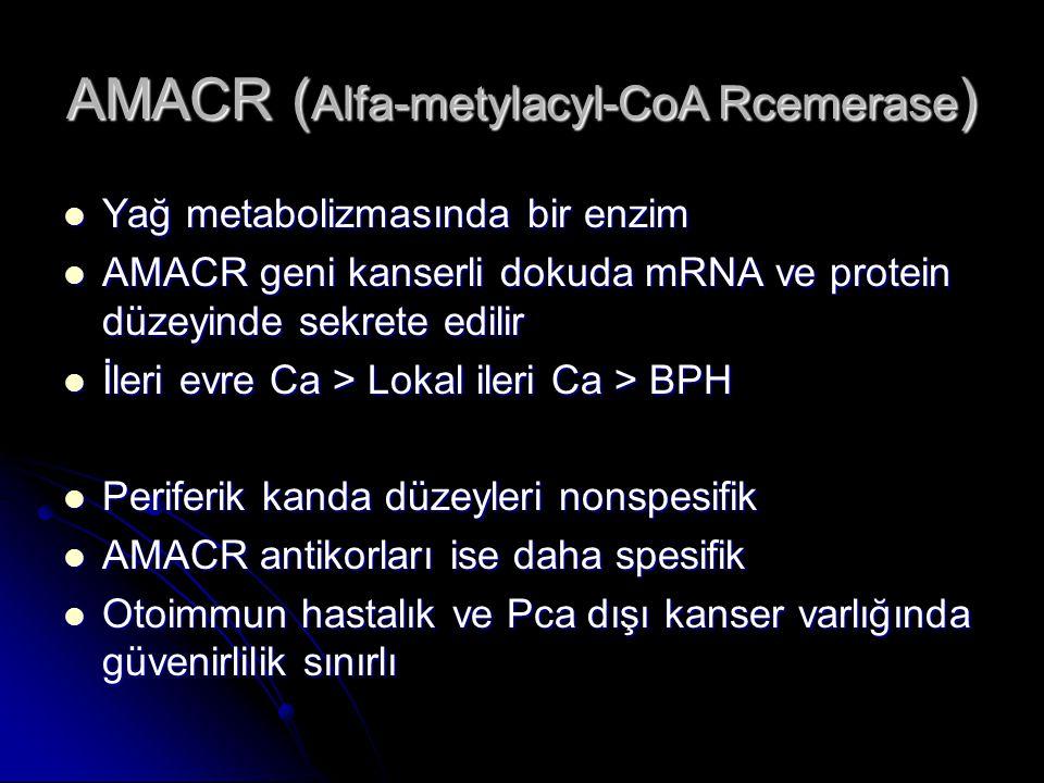 AMACR ( Alfa-metylacyl-CoA Rcemerase )  Yağ metabolizmasında bir enzim  AMACR geni kanserli dokuda mRNA ve protein düzeyinde sekrete edilir  İleri