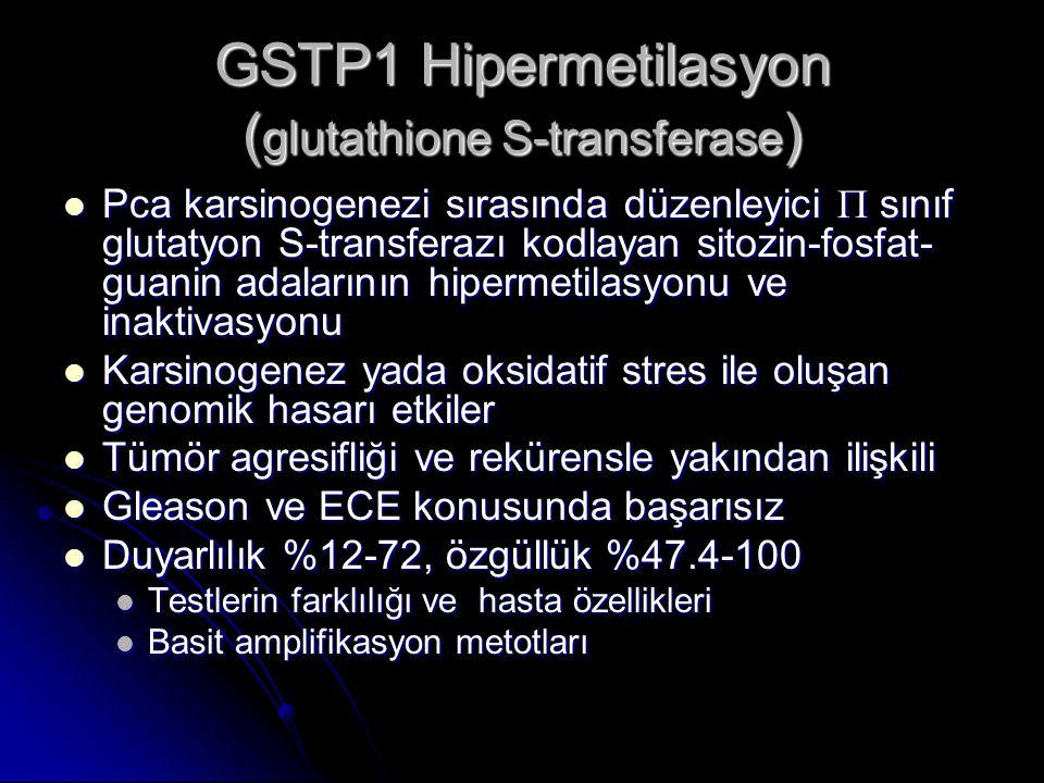 GSTP1 Hipermetilasyon ( glutathione S-transferase )  Pca karsinogenezi sırasında düzenleyici  sınıf glutatyon S-transferazı kodlayan sitozin-fosfat-
