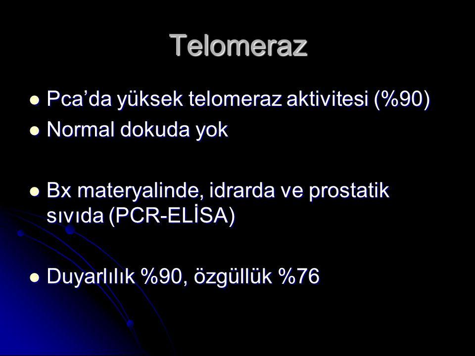 Telomeraz  Pca'da yüksek telomeraz aktivitesi (%90)  Normal dokuda yok  Bx materyalinde, idrarda ve prostatik sıvıda (PCR-ELİSA)  Duyarlılık %90,