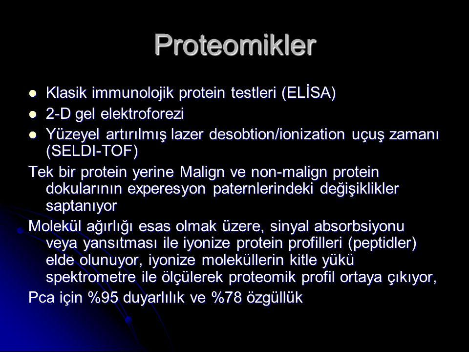 Proteomikler  Klasik immunolojik protein testleri (ELİSA)  2-D gel elektroforezi  Yüzeyel artırılmış lazer desobtion/ionization uçuş zamanı (SELDI-