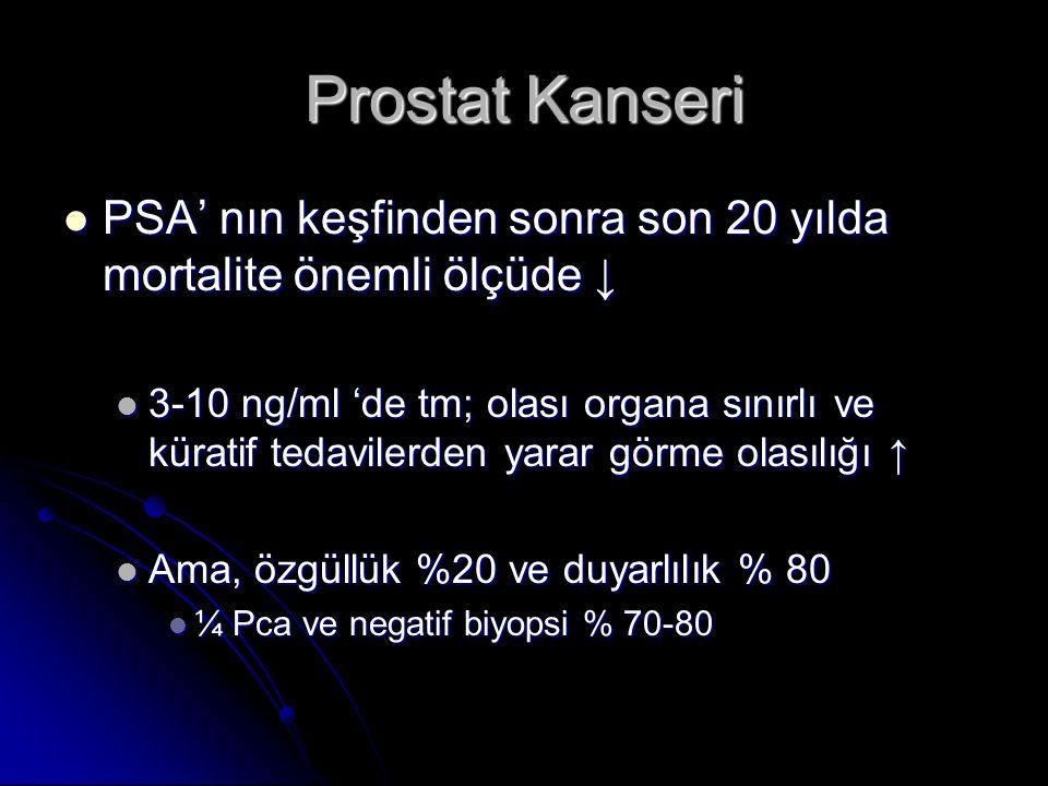 Prostat Kanseri  PSA' nın keşfinden sonra son 20 yılda mortalite önemli ölçüde ↓  3-10 ng/ml 'de tm; olası organa sınırlı ve küratif tedavilerden ya