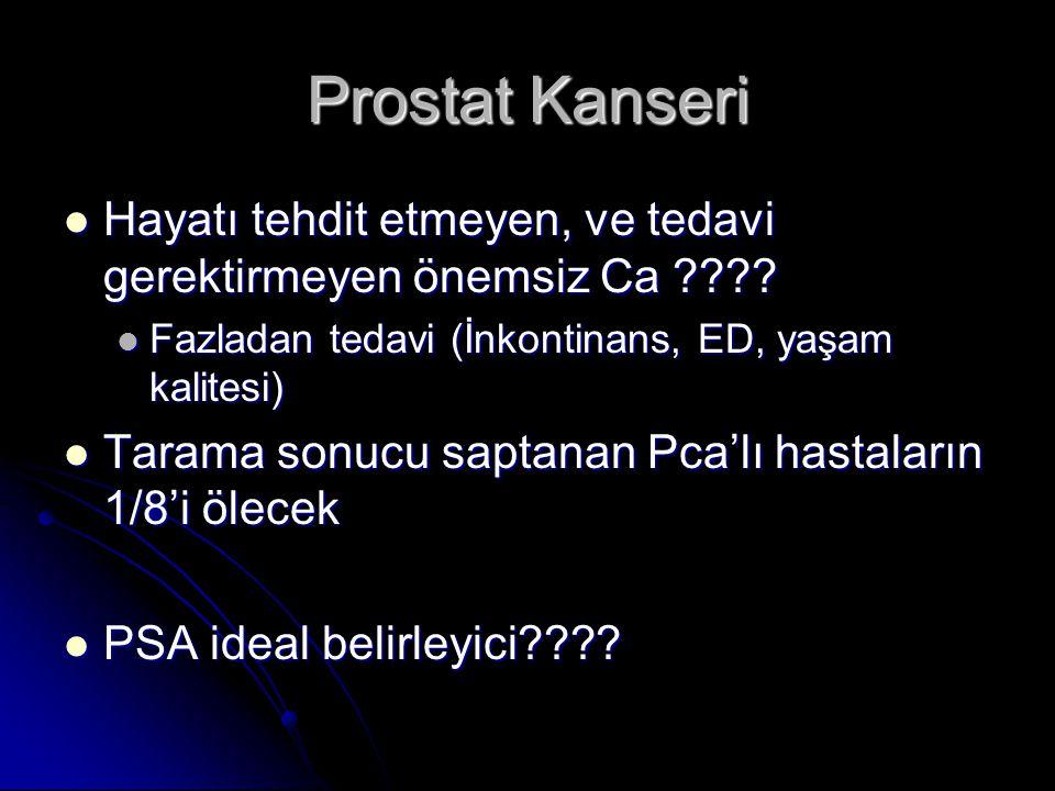 Prostat Kanseri  Hayatı tehdit etmeyen, ve tedavi gerektirmeyen önemsiz Ca ????  Fazladan tedavi (İnkontinans, ED, yaşam kalitesi)  Tarama sonucu s