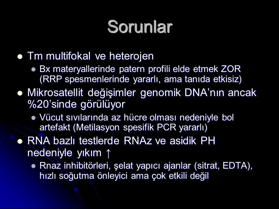 Sorunlar  Tm multifokal ve heterojen  Bx materyallerinde patern profili elde etmek ZOR (RRP spesmenlerinde yararlı, ama tanıda etkisiz)  Mikrosatel