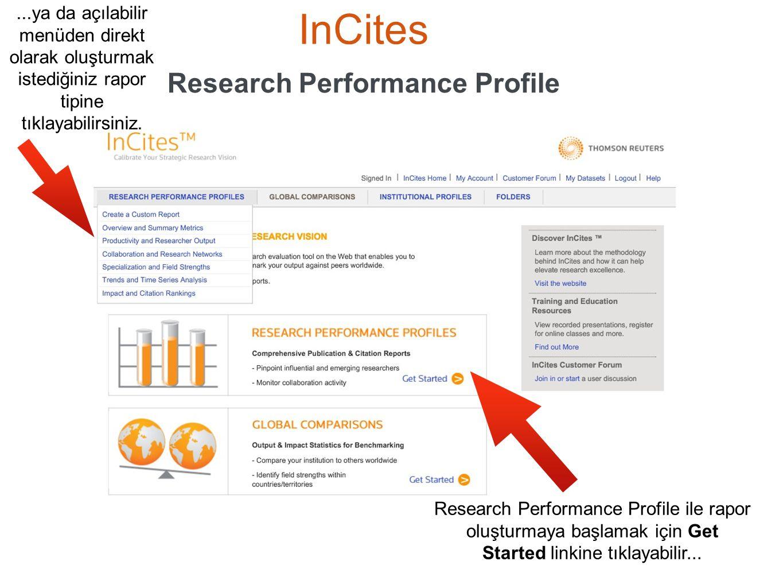 InCites Research Performance Profile Research Performance Profile ile rapor oluşturmaya başlamak için Get Started linkine tıklayabilir......ya da açıl