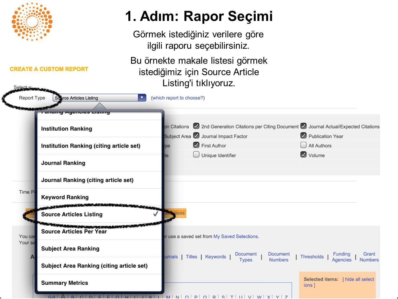 1. Adım: Rapor Seçimi Görmek istediğiniz verilere göre ilgili raporu seçebilirsiniz. Bu örnekte makale listesi görmek istediğimiz için Source Article