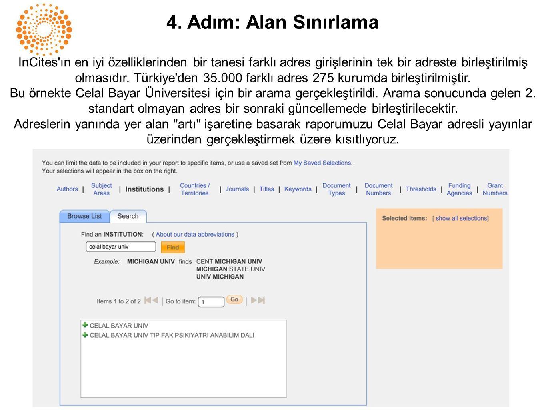 4. Adım: Alan Sınırlama InCites'ın en iyi özelliklerinden bir tanesi farklı adres girişlerinin tek bir adreste birleştirilmiş olmasıdır. Türkiye'den 3