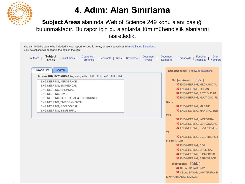 4. Adım: Alan Sınırlama Subject Areas alanında Web of Science 249 konu alanı başlığı bulunmaktadır. Bu rapor için bu alanlarda tüm mühendislik alanlar