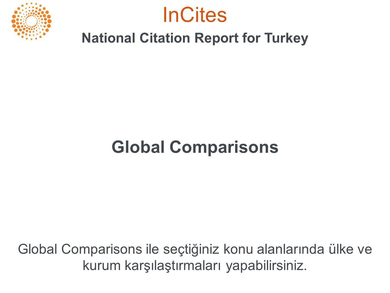 InCites National Citation Report for Turkey Global Comparisons Global Comparisons ile seçtiğiniz konu alanlarında ülke ve kurum karşılaştırmaları yapa