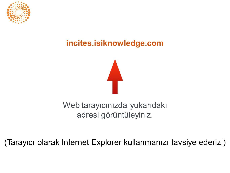 incites.isiknowledge.com Web tarayıcınızda yukarıdakı adresi görüntüleyiniz. (Tarayıcı olarak Internet Explorer kullanmanızı tavsiye ederiz.)