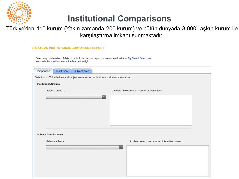 Institutional Comparisons Türkiye'den 110 kurum (Yakın zamanda 200 kurum) ve bütün dünyada 3.000'i aşkın kurum ile karşılaştırma imkanı sunmaktadır.