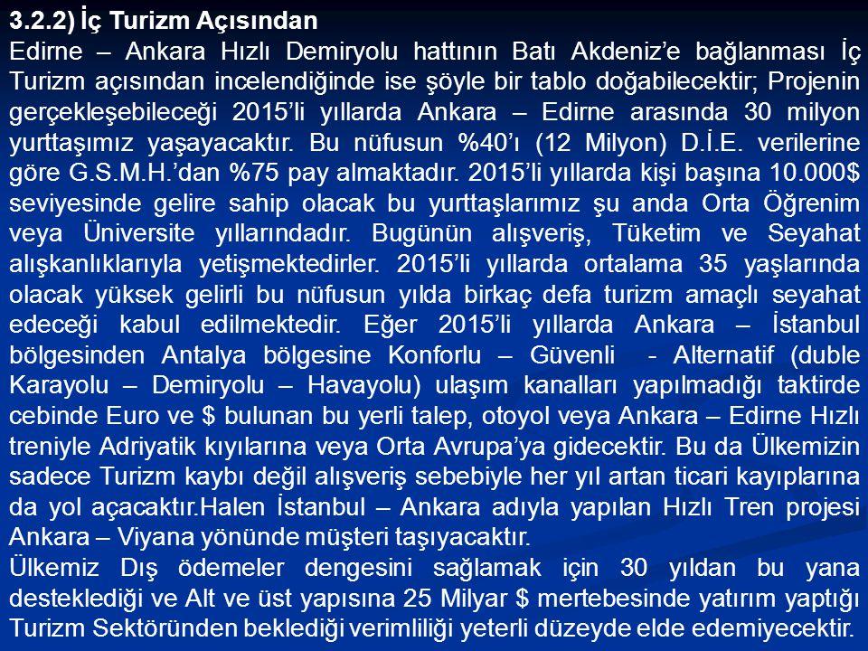 3.2.2) İç Turizm Açısından Edirne – Ankara Hızlı Demiryolu hattının Batı Akdeniz'e bağlanması İç Turizm açısından incelendiğinde ise şöyle bir tablo doğabilecektir; Projenin gerçekleşebileceği 2015'li yıllarda Ankara – Edirne arasında 30 milyon yurttaşımız yaşayacaktır.