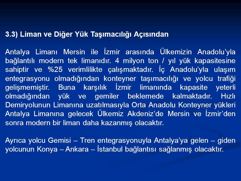 3.3) Liman ve Diğer Yük Taşımacılığı Açısından Antalya Limanı Mersin ile İzmir arasında Ülkemizin Anadolu'yla bağlantılı modern tek limanıdır.