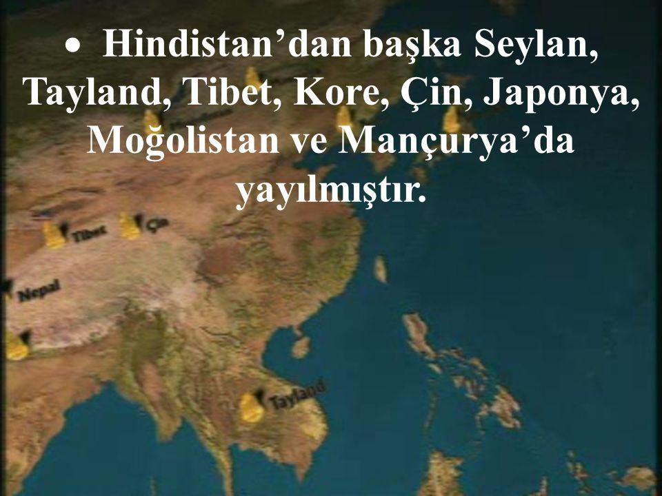  H indistan'dan başka Seylan, Tayland, Tibet, Kore, Çin, Japonya, Moğolistan ve Mançurya'da yayılmıştır.