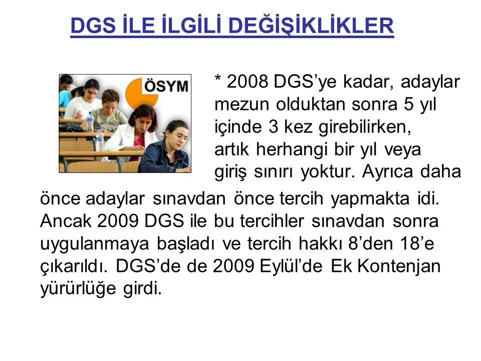 DGS İLE İLGİLİ DEĞİŞİKLİKLER * 2008 DGS'ye kadar, adaylar mezun olduktan sonra 5 yıl içinde 3 kez girebilirken, artık herhangi bir yıl veya giriş sınırı yoktur.