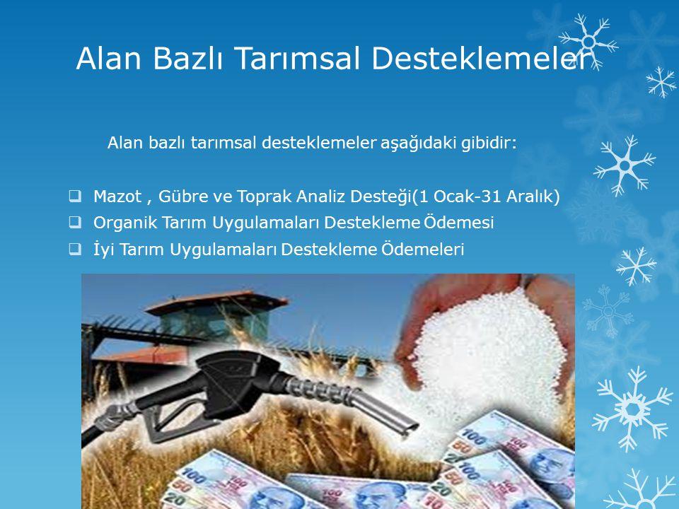 Alan Bazlı Tarımsal Desteklemeler Alan bazlı tarımsal desteklemeler aşağıdaki gibidir:  Mazot, Gübre ve Toprak Analiz Desteği(1 Ocak-31 Aralık)  Org
