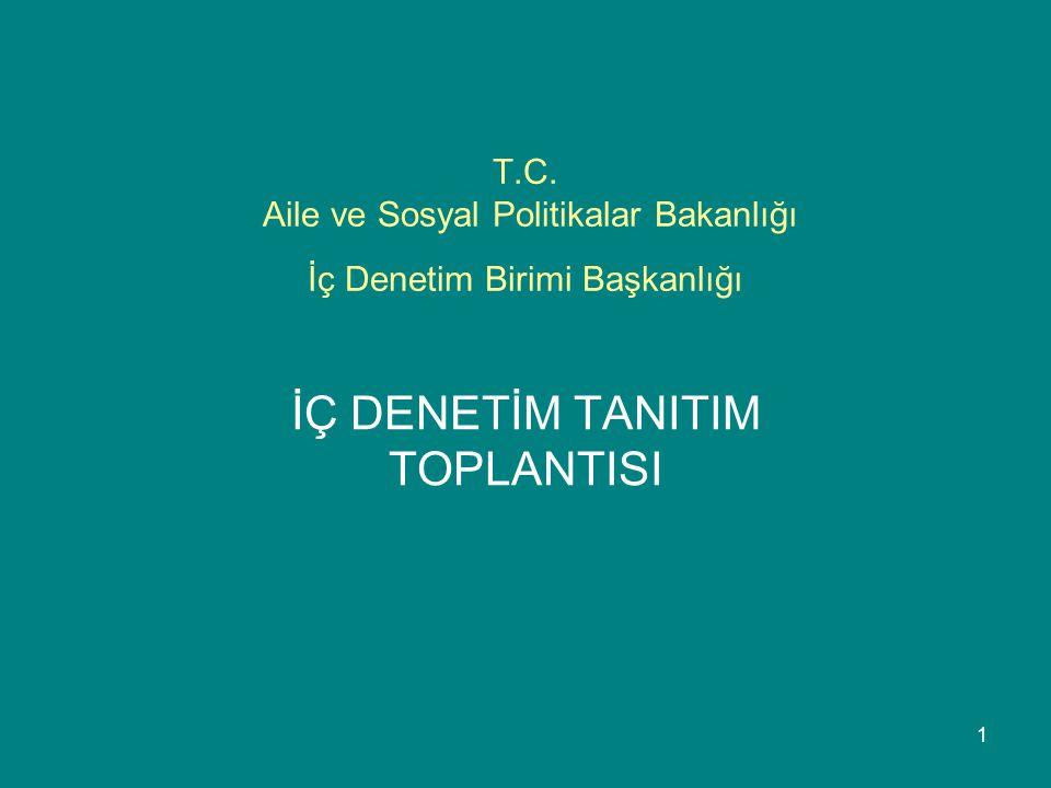 1 T.C. Aile ve Sosyal Politikalar Bakanlığı İç Denetim Birimi Başkanlığı İÇ DENETİM TANITIM TOPLANTISI