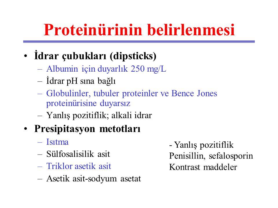 Kantitatif proteinürinin belirlenmesi •Turbidimetrik yöntem –Duyarlık 2.5 mg/L •Boya bağlayıcı teknikler •Biüret metodu •Protein / kreatinin oranı