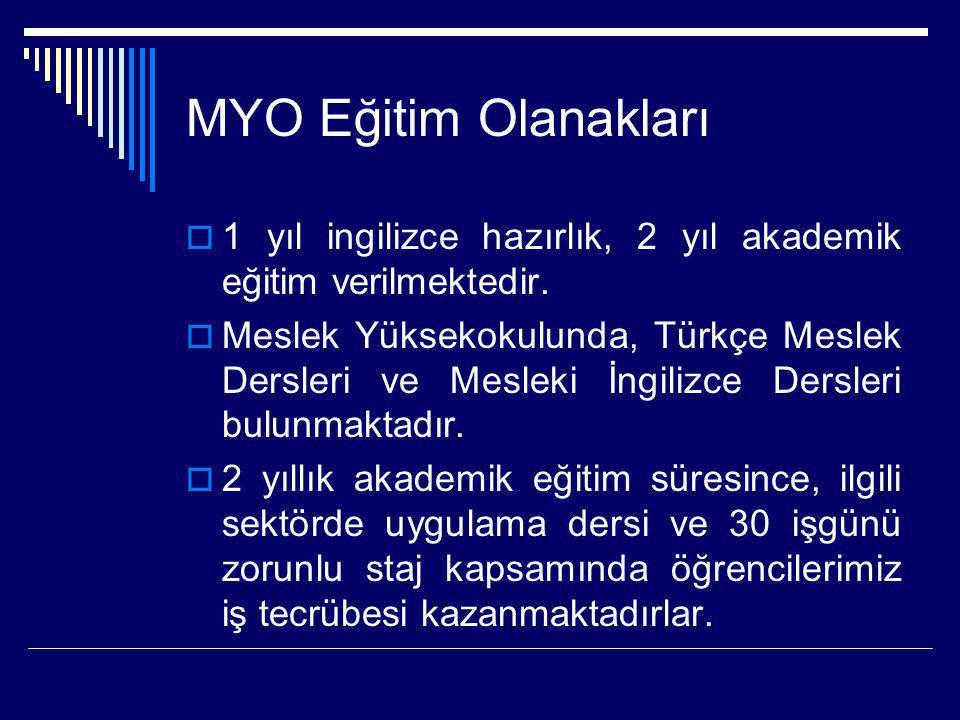 MYO Eğitim Olanakları  1 yıl ingilizce hazırlık, 2 yıl akademik eğitim verilmektedir.  Meslek Yüksekokulunda, Türkçe Meslek Dersleri ve Mesleki İngi
