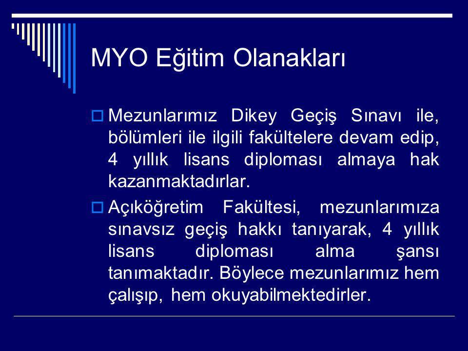MYO Eğitim Olanakları  Mezunlarımız Dikey Geçiş Sınavı ile, bölümleri ile ilgili fakültelere devam edip, 4 yıllık lisans diploması almaya hak kazanma
