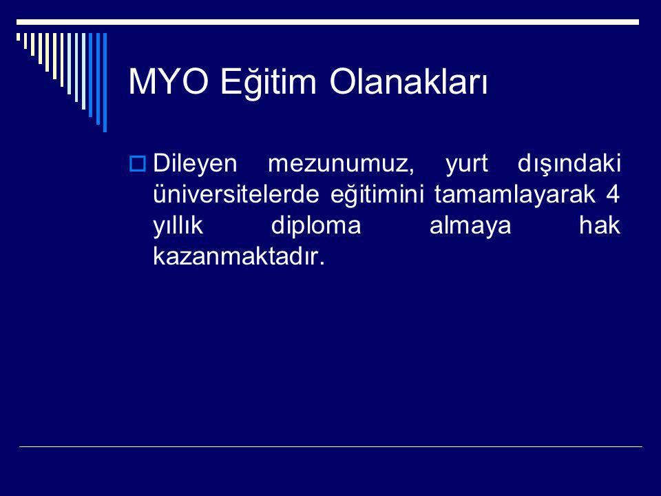 MYO Eğitim Olanakları  Dileyen mezunumuz, yurt dışındaki üniversitelerde eğitimini tamamlayarak 4 yıllık diploma almaya hak kazanmaktadır.