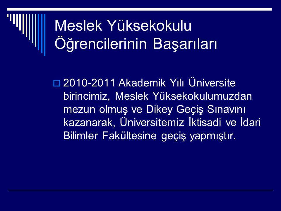 Meslek Yüksekokulu Öğrencilerinin Başarıları  2010-2011 Akademik Yılı Üniversite birincimiz, Meslek Yüksekokulumuzdan mezun olmuş ve Dikey Geçiş Sına