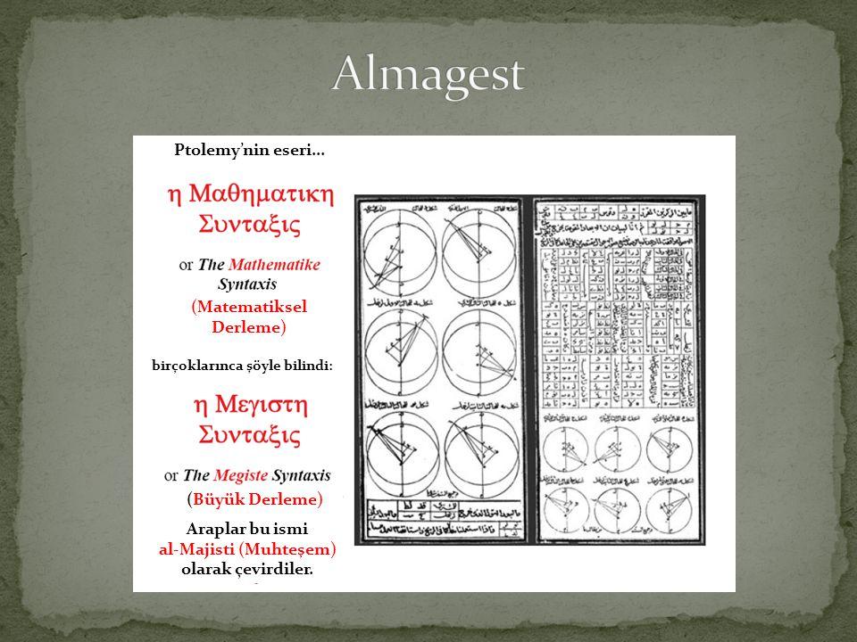Araplar bu ismi al-Majisti (Muhteşem) olarak çevirdiler. Ptolemy'nin eseri... (Matematiksel Derleme) birçoklarınca şöyle bilindi: (Büyük Derleme)