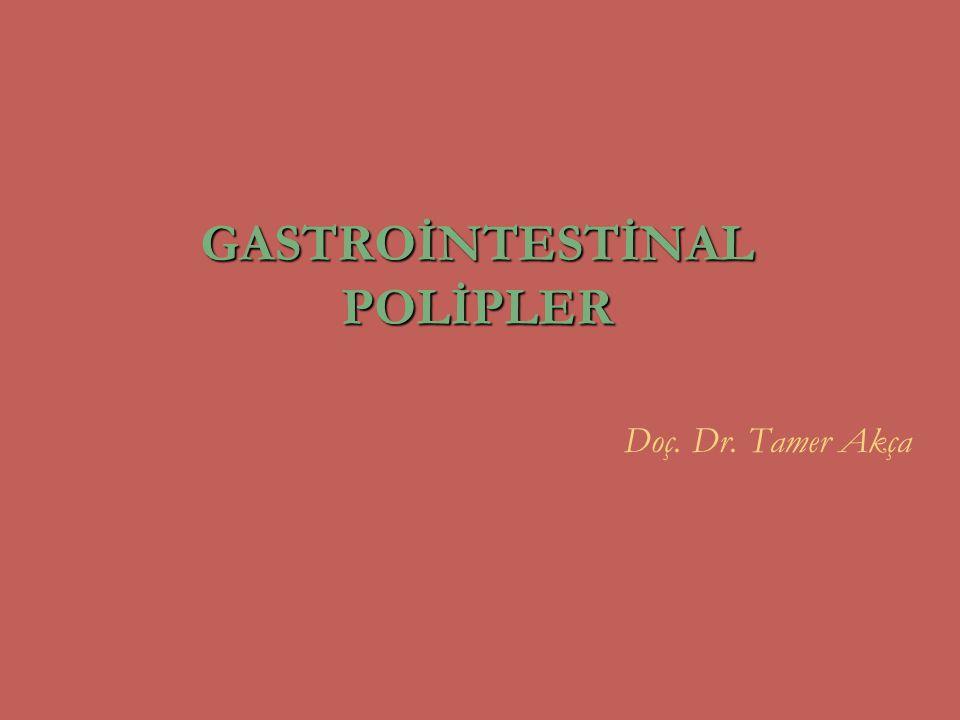 Peutz-Jeghers Sendromu OD, mukokütanöz pigmentasyon ağız, burun, dudaklar, ağız mukozası, eller ve ayaklarda, perianal ve genital bölgelerde sindirim sistemi polipozisi hamartomatöz progresif ince barsak tıkanıklığı, invajinasyon midede, ince barsakta (en fazla) ve kolonda akut üst gastrointestinal sistem kanaması, kronik kanama ortalama teşhis yaşı 23-26 kolon, duodenum, jejunum ve ileum karsinomaları ailesel Peutz-Jeghers sendromunda sindirim sistemi ve diğer organ kanserleri sık mide ve pankreas kanseri (%39) over kanseri ve seks kord tümörleri (%5-12) genç kadınlarda meme kanseri kanser teşhis yaşı 40-50 Gastrointestinal Polipler